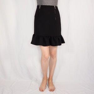 SANDRO Black Textured Ruffle Hem Peplum Zip Skirt